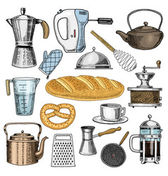 grater and whisk frying pan coffee maker or vector image