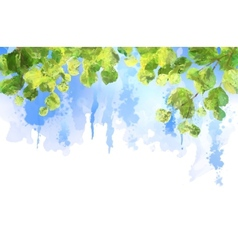 Green leaves tree branches watercolor vector image
