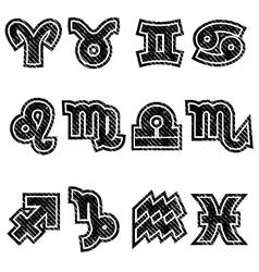 Grunge Zodiac Rubber Stamp Symbols vector image
