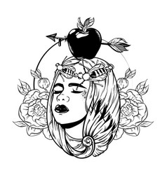 hand drawn of apple with arrow on female head vector image