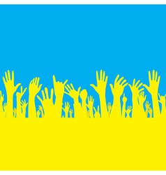 hand with Ukraine flag vector image
