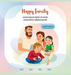 Happy family home activity web banner template vector