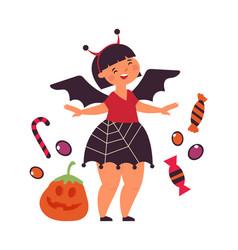 happy girl wear halloween dress cute little bat vector image
