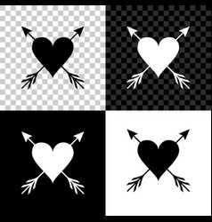heart with arrow icon isolated on black white and vector image