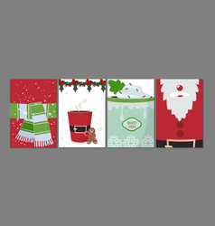 holiday cards year flyers festive vector image