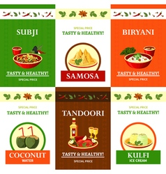 Indian Cuisine Flat Icons Set Poster vector
