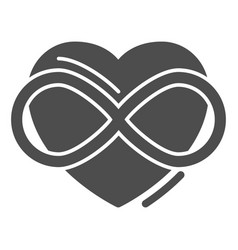 Infinity sign in heart shape solid icon free love vector