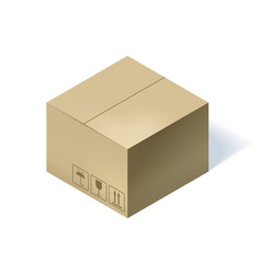 Isometric cardboard box isolated on white vector