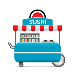Japanese sushi food cart colorful image vector