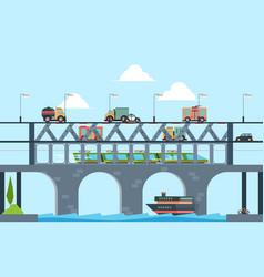 landscape with bridge speed truck highway bridge vector image