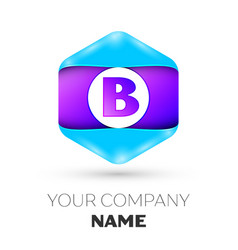 Letter b logo symbol in colorful hexagonal vector
