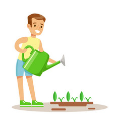 Little boy watering garden plant with watering can vector