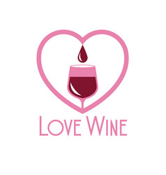 Love wine glass cup heart image vector