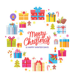 Merry christmas happy winter days congrats frame vector