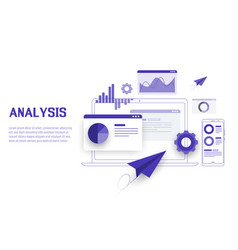 mobile and laptop data analysis research planning vector image