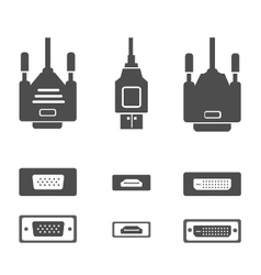 Monitor hardware icons cabels vector
