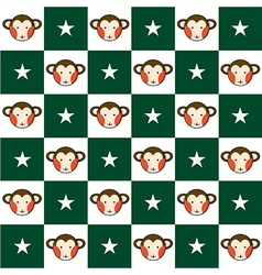 Monkey Star Green White Chess Board Background vector image