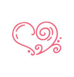 Monoline red valentines day hand drawn vector