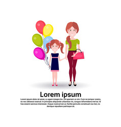 mother daughter balloons full length avatar on vector image