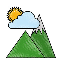 Mountains camp with cloud and sun vector