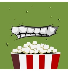 Mouth Monster is ready for eating popcorn vector