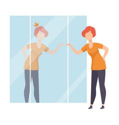 narcissistic woman character looking at mirror and vector image