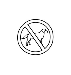 No dog allowed sign hand drawn outline doodle icon vector