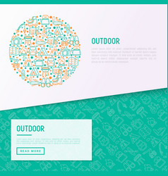 Outdoor concept in circle with thin line icons vector