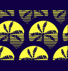 palm trees and sun seamless pattern yellow and vector image