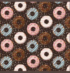 Pattern with glazed donuts on brown vector