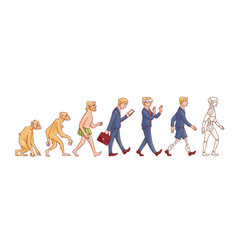 People evolution from monkey to robot vector