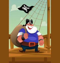 pirate standing on the deck vector image