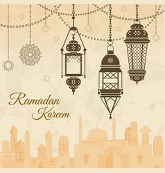 Ramadan eid mubarak festival background with lamp vector
