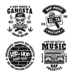 rap and hip-hop monochrome emblems vector image