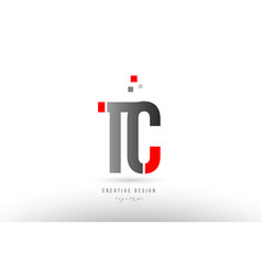 Red grey alphabet letter tc t c logo combination vector