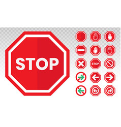 Red stop sign icon with hand palm flat icon vector