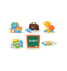 school and education icons set different school vector image