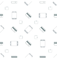Seamless pattern with phones and cards vector