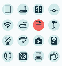 Set of 16 computer hardware icons includes vector