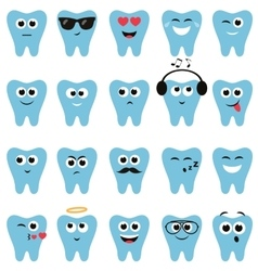 Set of teeth icons with different expressions vector