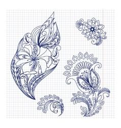 Sketchy doodles decorative floral pattern vector image