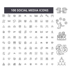 social media editable line icons 100 set vector image