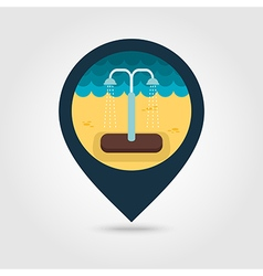 Summer beach pool shower pin map icon Vacation vector