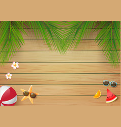 Summer wooden background with fresh palm leaf 001 vector