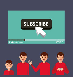 Suscribe video man influencer viral content vector