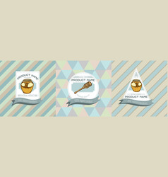 three colored labels with honey vector image