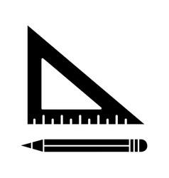 Triangular ruler with pencil glyph icon vector