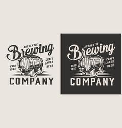 vintage monochrome brewing company logo vector image