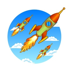 Vintage old rockets on a sky background vector
