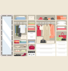 wardrobe with clothes cartoon vector image